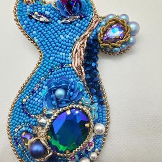 Брошь Flower cat Embroidery.creator.kh