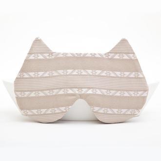 Бежевая маска для сна кошка, Подарок для женщин