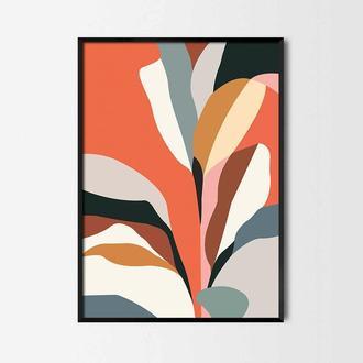 Графический постер Цветные листья