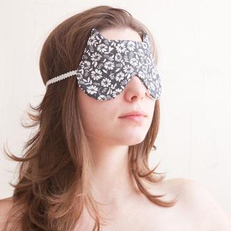 Маска для сна кошка, черная маска в самолет цветочный принт