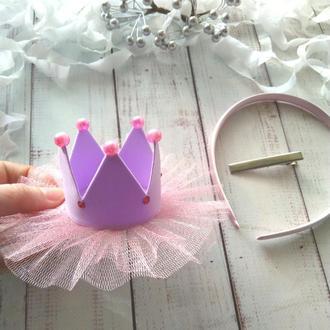 Сиреневая корона для девочки, корона на заколке, корона на ободке, корона на повязке