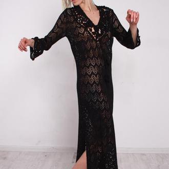 Черное трикотажное макси платье с кружевом
