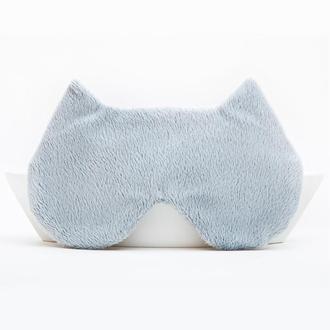 Пушистая маска для сна котик