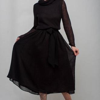 Черное вязаное ажурное миди платье