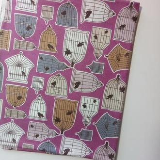 001.1 Ткань для рукоделия Американский хлопок 45х55 см. Ткань для пэчворка. Птичьи клетки