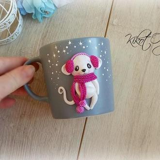 """Кружка Чашка """" Милый  Мышонок """" полимерная глина , символ 2020 года"""