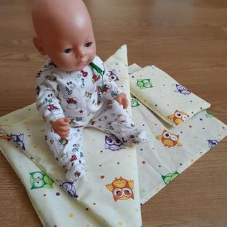 Постель для Беби Борн. Простынь, наволочка, одеяло.