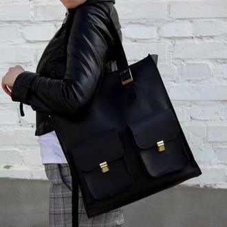 Женская кожаная сумка с ручками черная