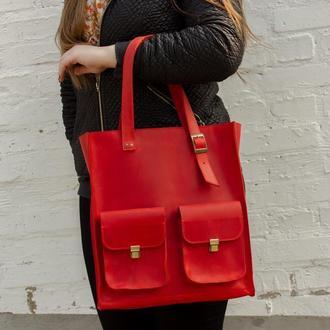 Женская красная кожаная сумка с ручками