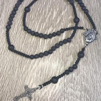 Вервиця, розарий, натуральные камни, лава 6 мм