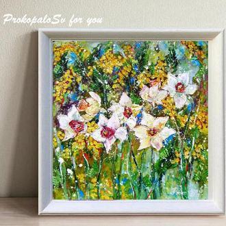 Картина маслом. Весенний букет. 45х43 см. Авторская картина . Оргалит. Картина написана мастихином.