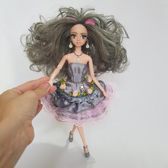 Символ года 2020. Новогодняя кукла мышка с ушками и серыми волосами