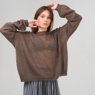 Женский пуловер из мохера на шелке