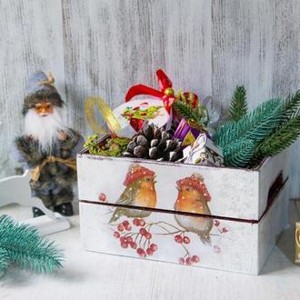 Новогодний ящик для хранения игрушек, подарков и сладостей