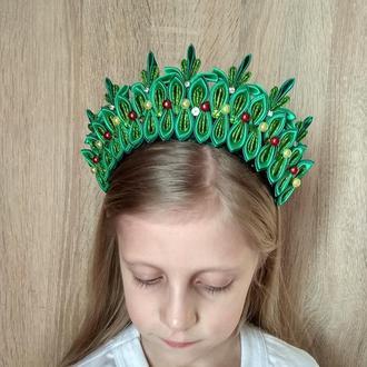 Корона на новогодний утренник Украшение на голову к костюму Елки Ободок для девочки Обруч ёлочка