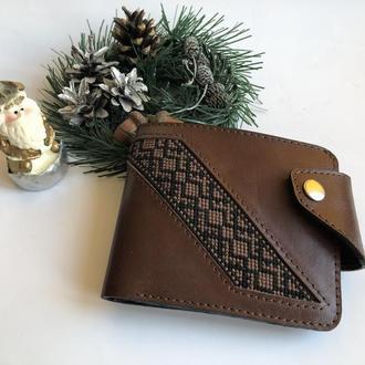 Кожаный мужской кошелёк, кошелек с вышивкой, портмоне, бумажник