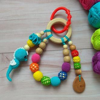 Развивающая игрушка Морской грызу грызунок прорезыватель подарок слингоигрушка натуральный