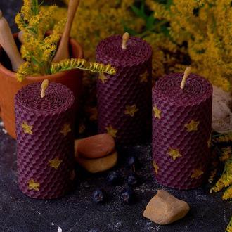 Пурпурная свеча из вощины, подарочный набор ручной работы, для декора и дома.