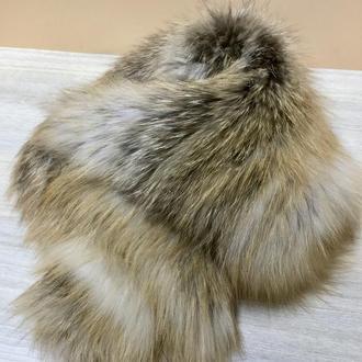 Шапка труба, снуд  из финской лисы вязаный по сетке