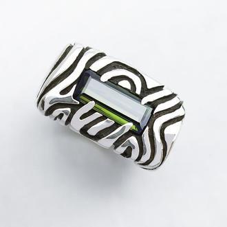 Серебряное кольцо с зеленым Турмалином 'AMAZONIA'