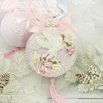 Розовый новогодний шар / Игрушка на елку / Украшение / Новогодние игрушки