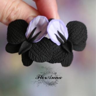 """Черные серьги с цветами """"Орхидеи"""""""