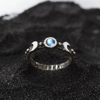 Серебряное кольцо с полумесяцем 'LALUNA' | кольцо с лунным камнем | лунный камень