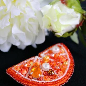 """Брошь """"Долька Апельсина"""". Подарок на ДР. Цитрусовый сувенир."""