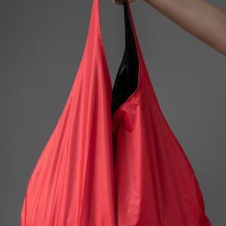 Шоппер красный, двусторонний. сумка для покупок