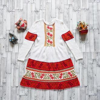 В'язане і вишите плаття для дівчинки (7-8 років), український стиль, єдиний примірник