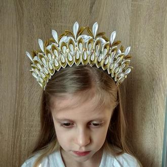 Золотая Корона принцессы на новогодний утренник Украшение на голову Ободок для девочки Обруч