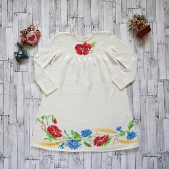 Праздничное вязанное и вышитое платье для девочки (8-9 лет), ручная работа, единственный экземпляр