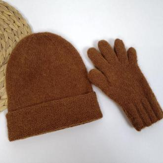 Женские перчатки и шапка бини альпака