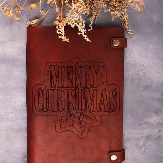 """Блокнот А4 с кожаной обложкой """"Merry Christmas"""""""