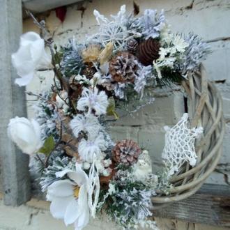 Новогодний рождественский венок для входной двери, интерьерный венок, украшения дома