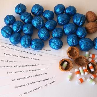 Орешки с предсказаниями пожеланиями Синие Новогоднее развлечение Декор