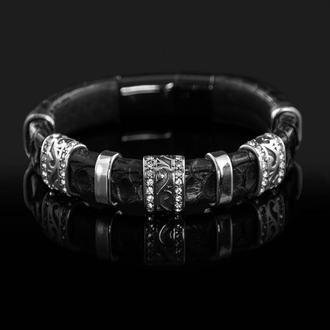 Женский браслет из натуральной змеиной кожи. Отделка сталь.
