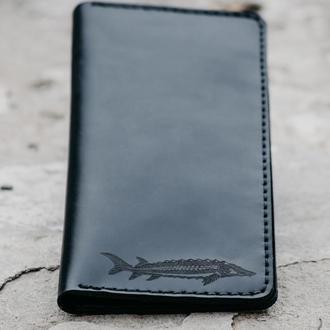 Мужское портмоне из натуральной кожи. Высокий кошелек