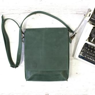 Кожаная сумка-планшет на скрытых магнитах унисекс