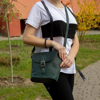 Компактна шкіряна сумка на плечі зелена