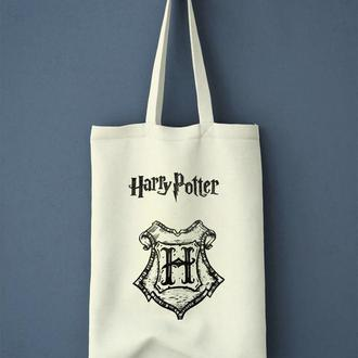 """Экосумка, шоппер из льна с росписью """"Гарри Поттер, Хогвартс"""""""