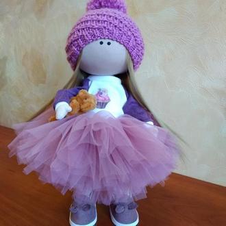 """Кукла (кукла) текстильная (интерьерная) """"Девочка в розовом"""""""