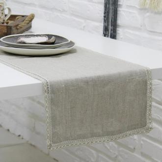 Дорожка на стол (ранер на стол), текстиль для кухни, дорожка с кружевом на стол, лляний ранер