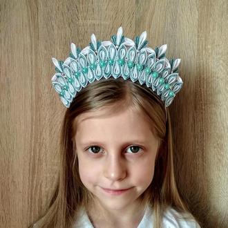 Корона снежинки на утренник Новогодний ободок для девочки Обруч для волос на фотосессию