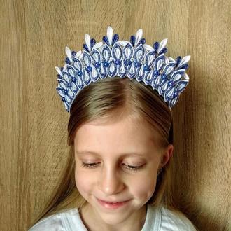 Ободок снежинка Новогодняя корона снежной королевы на утренник Обруч для волос на фотосессию