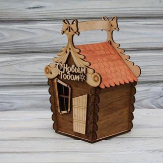 Деревянная коробка, футляр, сундучок, коробка-домик для сладостей