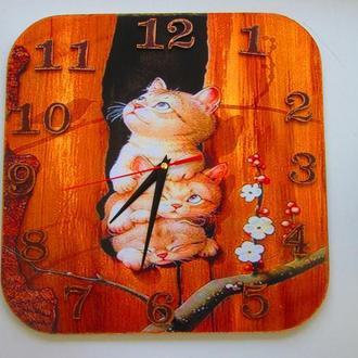 """Большие настенные часы """"Котята-непоседы"""" , интерьерные для детской комнаты"""