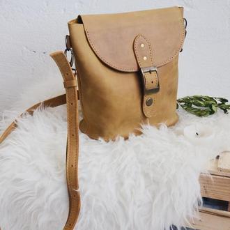 Компактна жіноча шкіряна сумка на плечі