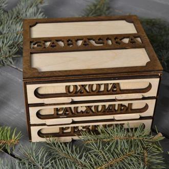 """Деревянная подарочная упаковка, коробка, Оригинальный сувенир, шкатулка, копилка """"Заначка"""""""