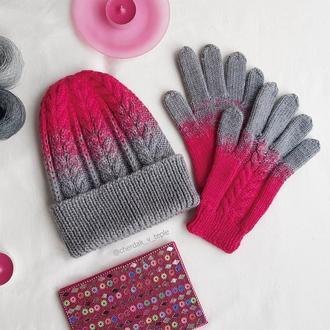 Шапка и перчатки с градиентом из мериносовой шерсти